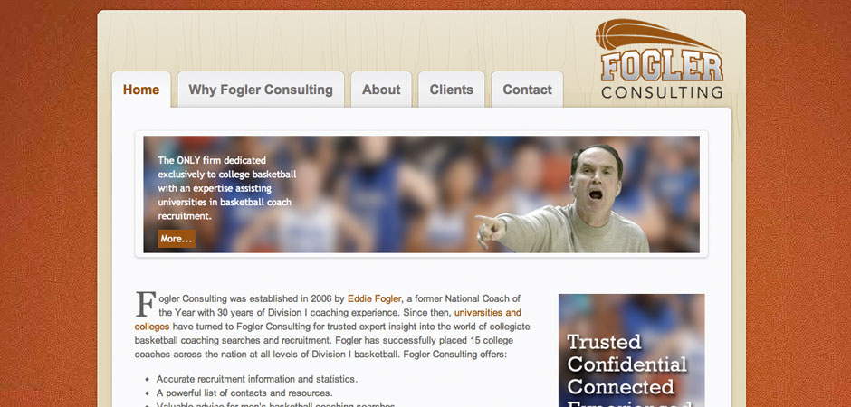 Website design for basketball coach
